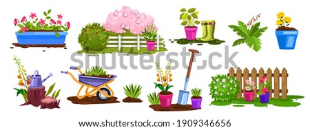Spring garden nature, plant vector collection, flower pots, bushes, fence, green seedling, boots. Backyard botanical summer gardening objects set with wheelbarrow, watering can. Spring garden icons