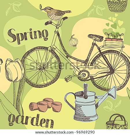 Spring garden pattern - stock vector
