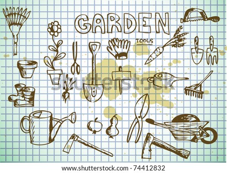 spring garden tools on the old paper