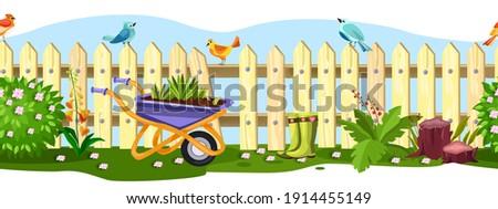spring garden vector fence