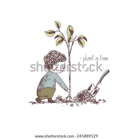 spring gardening theme, planting a tree