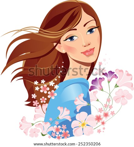 spring girl with flowers