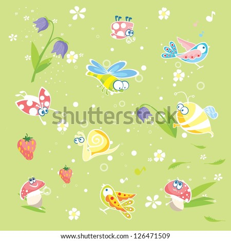 Spring green background with insects and flowers | Vector baby pastel texture with funny animals