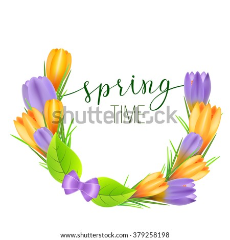 Spring greeting card with yellow and violet crocuses and original handwritten text Spring. Vector illustration for posters, greeting cards, print and web projects. #379258198