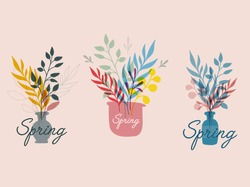 Spring hand drawn set of logotype, badge typography icon. Lettering spring season with leaf flower for greeting card, invitation template. Retro, vintage lettering banner poster template background