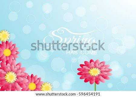 Spring has come vector illustration on the gradient light blue background with red and yellow  flowers. #596454191