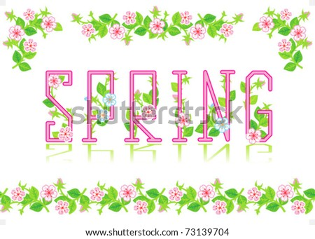 Spring heading text and design elements - divider, corners, seamless border