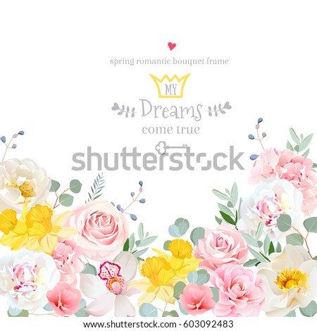 Spring hydrangea, rose, peony, orchid, daffodil, camellia vector design card. Botanical style frame with mixed flowers on white. Elegant floral background. All elements are isolated and editable #603092483