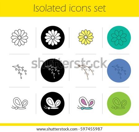 spring icons set linear  black