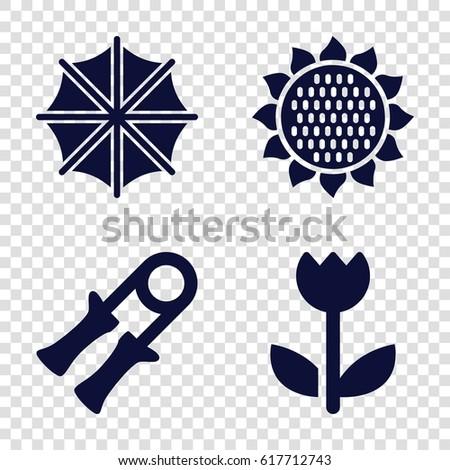 spring icons set set of 4