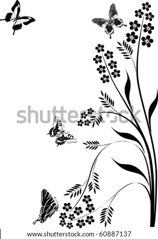 spring illustration with butterflies and floral curls