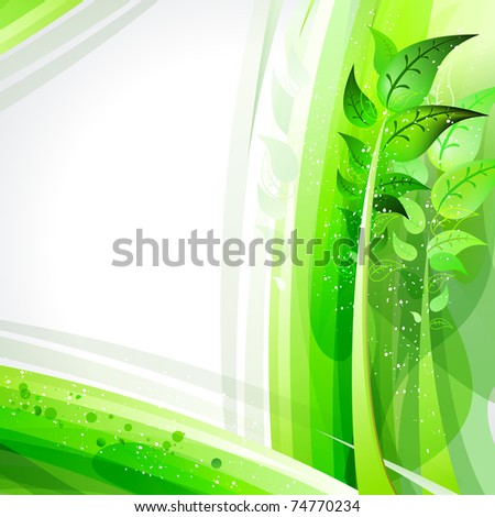 spring in the abstract green forest