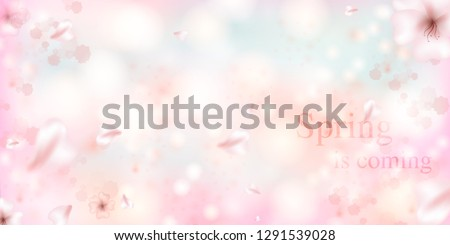 Spring is coming. Sakura petals falling down. Beautiful  Pink background with branch of cherry blossom. Vector watercolor illustration of sakura.