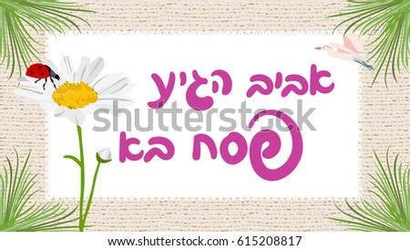 Passover download free vector art stock graphics images spring is here happy passover greeting card with hebrew typography vector daisy and ladybug m4hsunfo