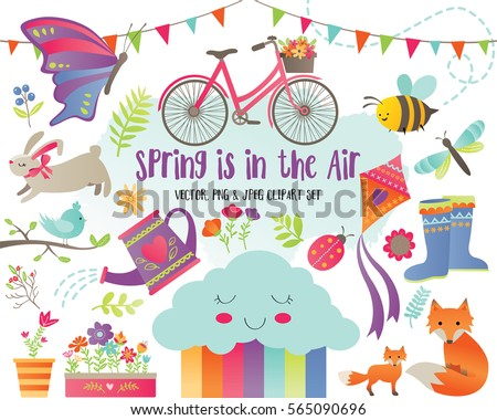 Spring Is In The Air - Springtime Design Elements Clip Art