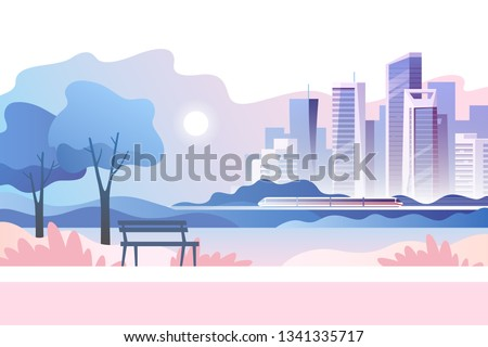 Spring landscape background. Public park in the city. Vector illustration.