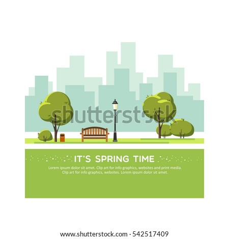 Spring landscape background. Public park in the city. Vector illustration.