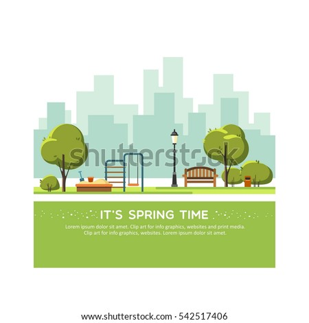 Spring landscape background. Public park in the city with children playground. Vector illustration.