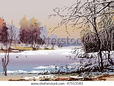 Spring landscape in sunny weather. Vector art-illustration.