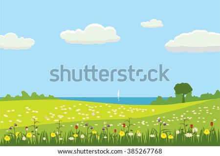 spring landscape  trees