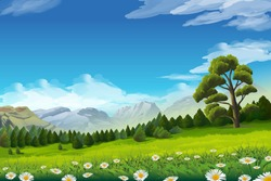 Spring landscape, vector background