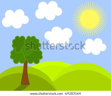 Spring landscape. Vector illustration