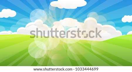 stock-vector-spring-landscape-view-vector-green-field-grass-and-clouds-with-blue-sky-background-sun-ray-and