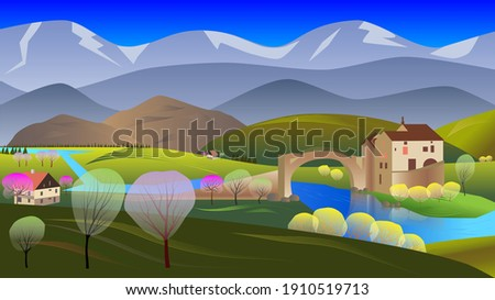 spring landscape with a castle