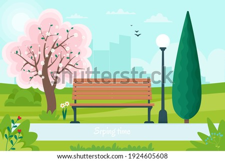 Spring landscape with bench in the park and a flowering tree. Vector illustration in flat style Foto stock ©