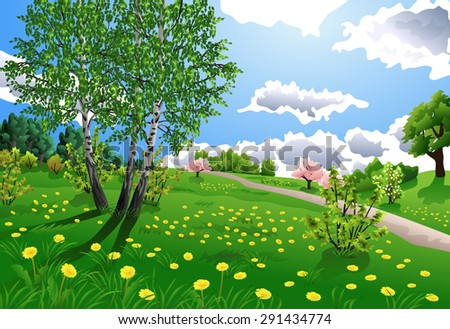 spring landscape with birch