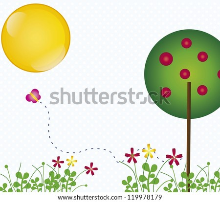 spring landscape with butterflies vintage background, vector illustration
