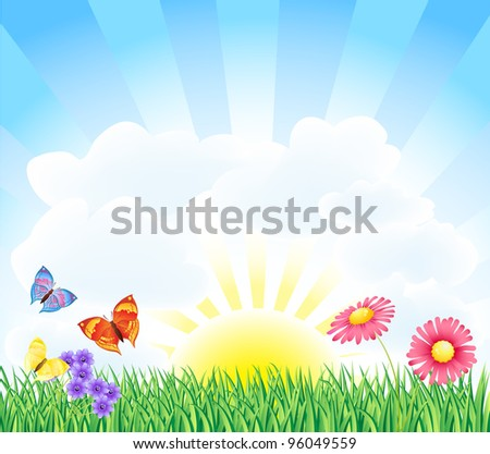 spring landscape with butterfly and flower