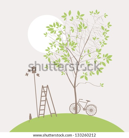 spring landscape with green tree and bike