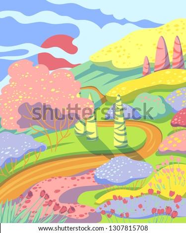 spring landscape with hills