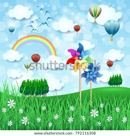 stock-vector-spring-landscape-with-pinwheels-and-hot-air-balloons-vector-illustration-eps