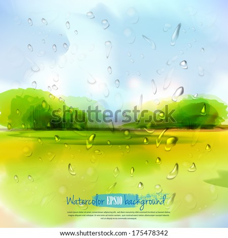 Spring landscape with rain drops.The illustration contains transparency and effects. EPS10