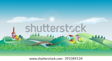 Spring landscape with the environment and grass in the foreground. Vector illustration