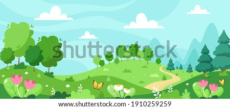 Spring landscape with trees, mountains, fields, leaves. Vector illustration in flat style.