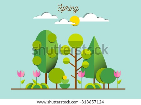 spring landscape with tulips