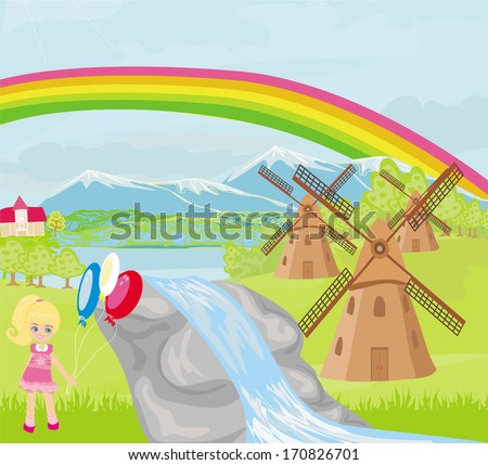 spring landscape with windmills and a little girl