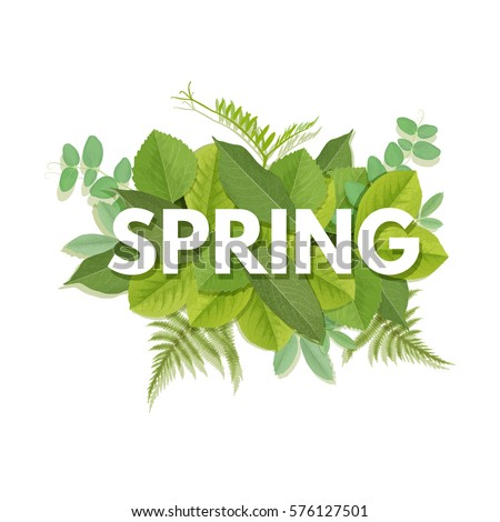 spring letter with green leaves