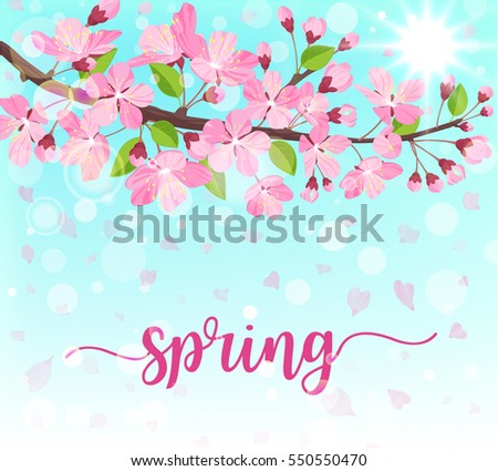 Spring flower background download free vector art stock graphics spring lettering blossoming tree brunch with spring flowers on blue background vector illustration mightylinksfo Images