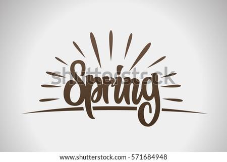 Spring lettering design logo. Decorative typography.Spring lettering design