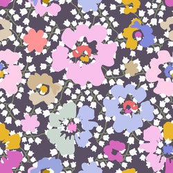 Spring liberty print on grey background. Seamless vector pattern in repeat. Vintage print with small flowers. Retro textile design collection.