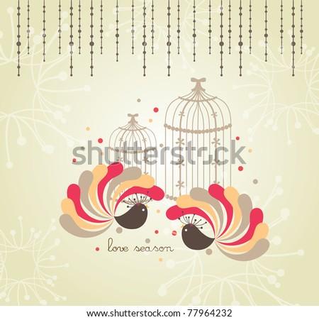 spring lovely bird card design