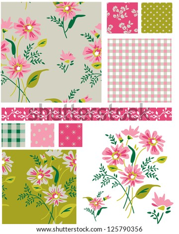 Spring Meadow Floral Seamless Vector Patterns and elements. Use as fills, digital paper, or print off onto fabric to create unique items.