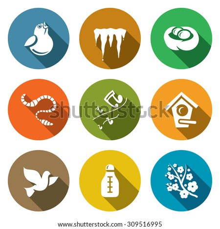 spring mood icons set vector