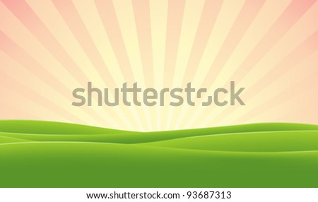 Spring Morning Sky/ Illustration of a morning sky on green meadows landscape background