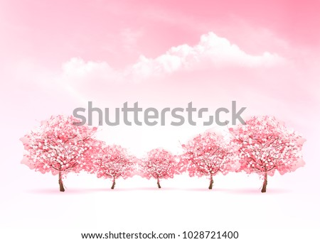 Stock Photo Spring nature background with a pink blooming sakura tree. Vector.