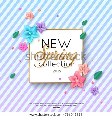 Spring New Collection Background decorated colorful flowers and foliage on striped background for advertising booklets, banners, posters, online shopping. Vector illustration